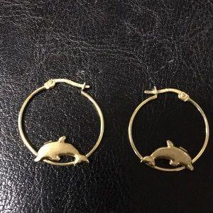 Dolphin Gold Hoop Earrings